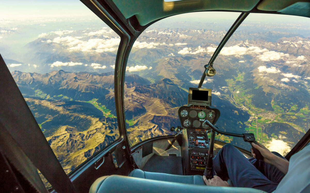 pilot's view flying a helicopter