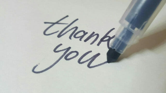 pen writing thank you